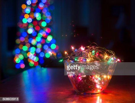 Tigela de luzes de Natal : Foto de stock