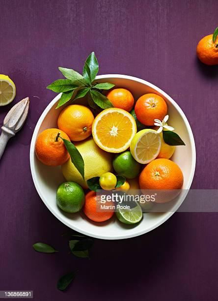 bowl of citrus fruit overhead