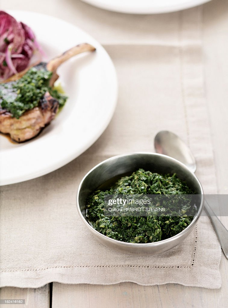 Bowl of cooked spinach : Stock Photo