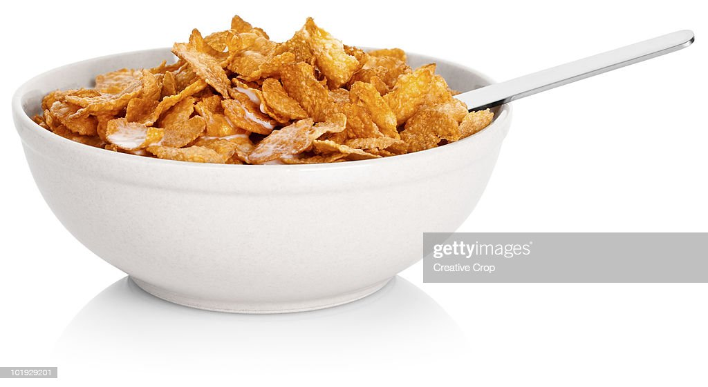 Bowl of corn flakes cereal : Stock Photo