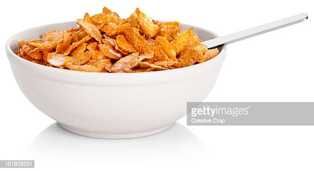 Bowl of corn flakes cereal