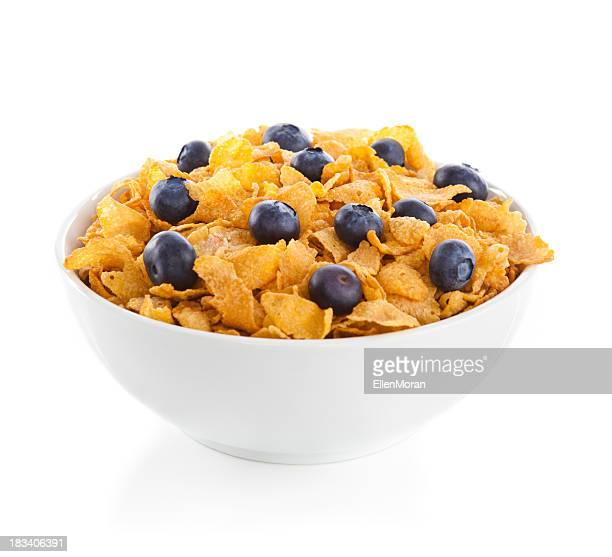 Bowl of Cornflakes with Blueberries