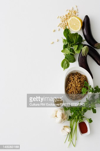 Bowl of couscous, eggplants and herbs