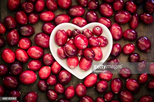 Bowl of cranberries surrounded by cranberries on wooden table, elevated view