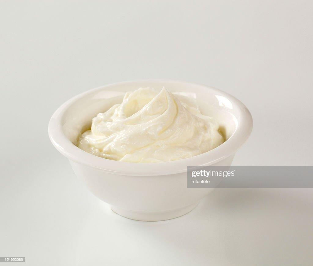 Bowl of cream cheese