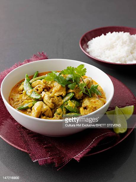 Bowl of curry with meat and vegetables