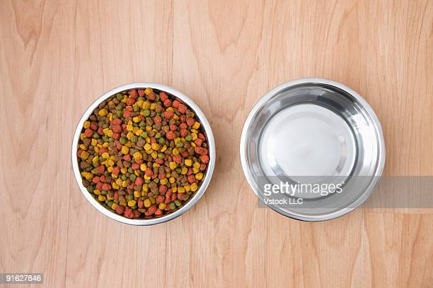 A bowl of dog food and a bowl of water