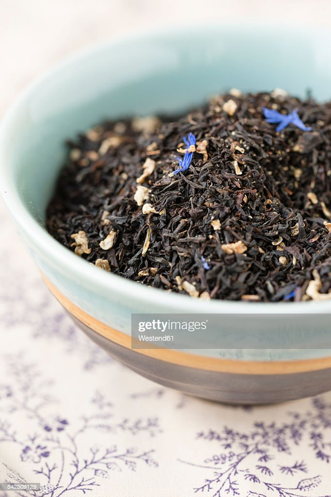 Bowl of Earl Grey blend mixed with cornflowers