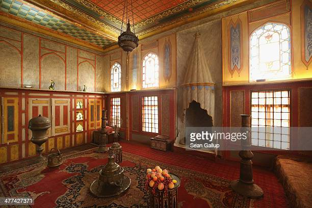 A bowl of fake fruit stands in the Drawing Room of the Khan's Palace also called Hansaray in Crimea on March 9 2014 in Bakhchysarai Ukraine...