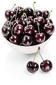 Bowl of fresh black cherries