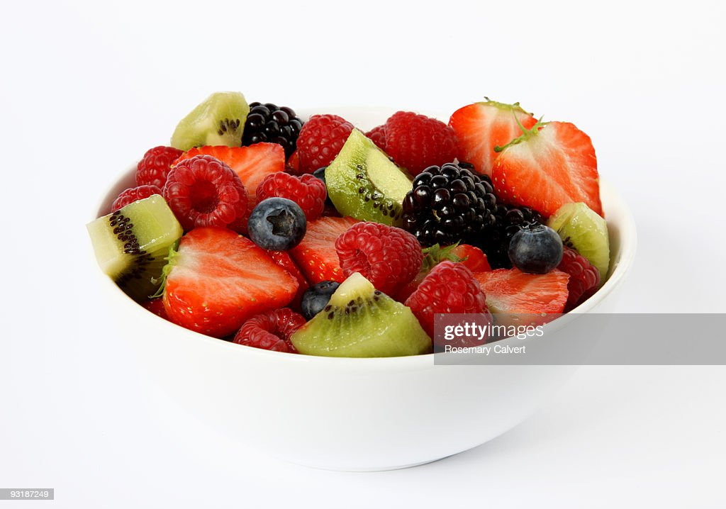 Bowl of fresh soft fruits and berries. : Stock Photo
