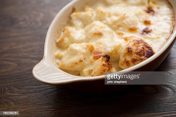 Bowl of freshly baked Cauliflower Cheese
