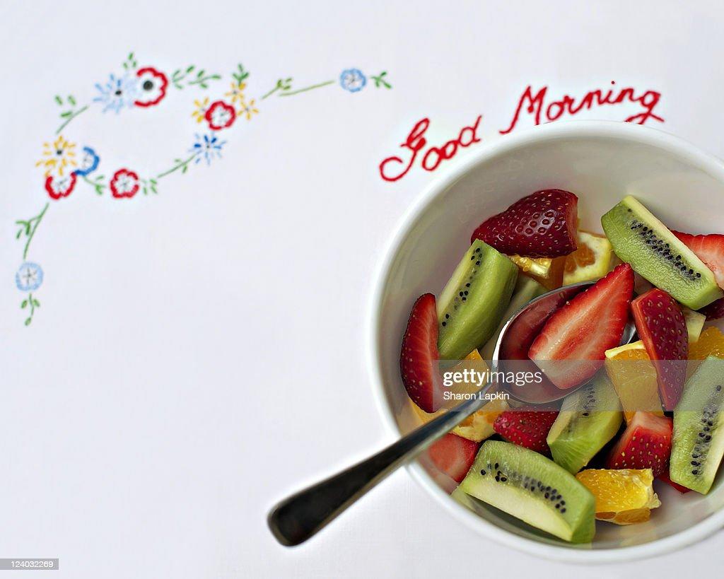 Bowl of freshly cut fruit salad : Stock Photo