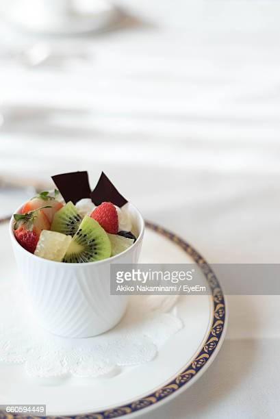 Bowl Of Fruit Salad With Ice Cream