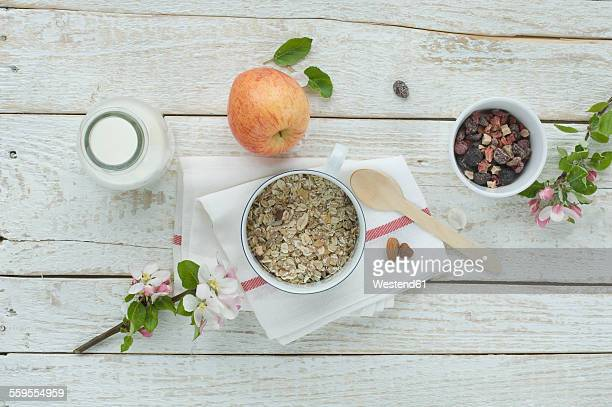 Bowl of granola and bowl of dried fruits