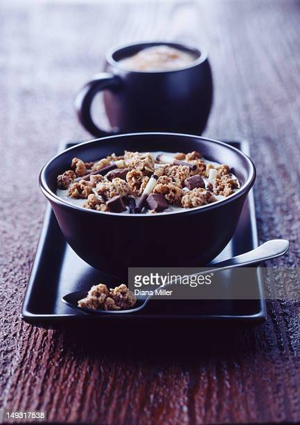 Bowl of granola on tray