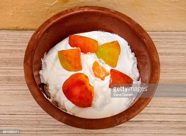 Bowl of Greek yogurt with apricot
