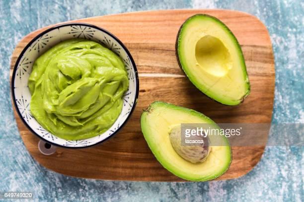 Bowl of guacamole and sliced avocado