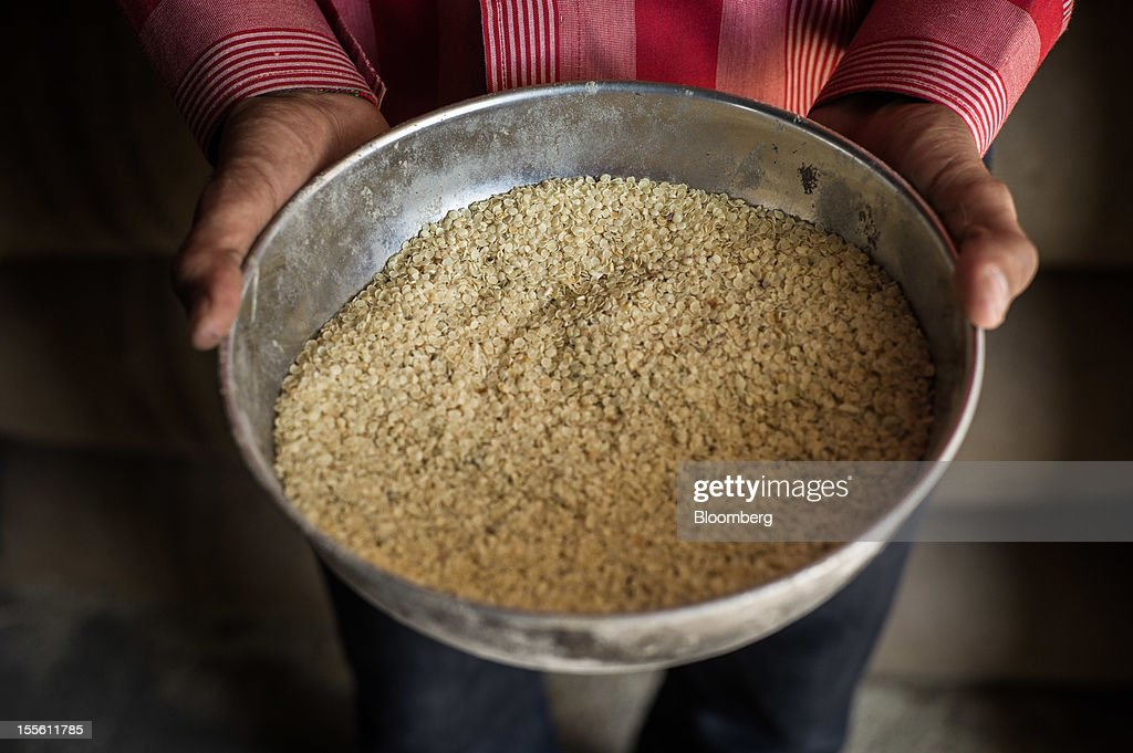 A bowl of guar gum split is displayed for a photograph in a processing plant on the outskirts of Mathania, in the district of Jodhpur in Rajasthan, India, on Monday, Oct. 29, 2012. Guar gum is used to blend materials used in fracking. Photographer: Sanjit Das/Bloomberg via Getty Images