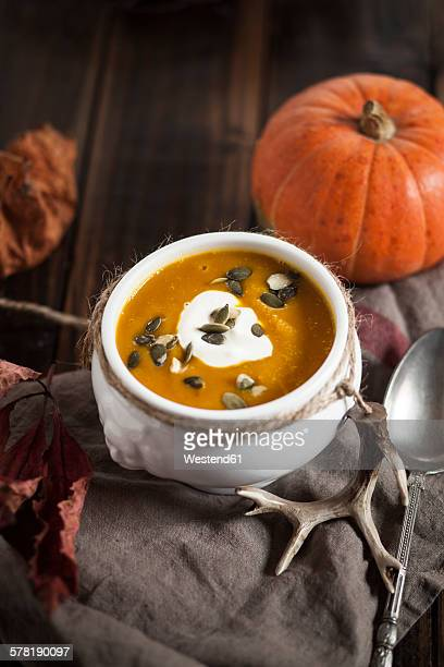Bowl of Hokkaido-Soup with sour cream and pumpkin seed