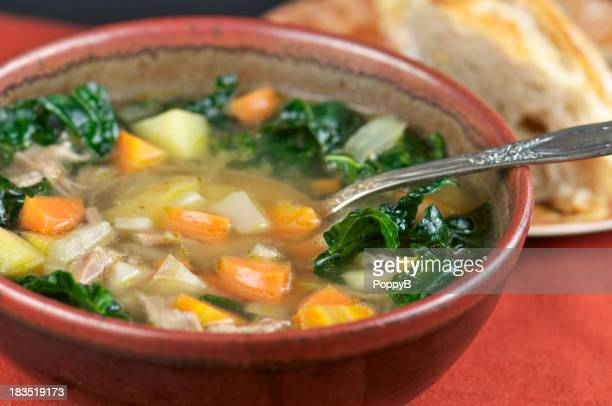 Bowl of Homemade Turkey Soup and Bread