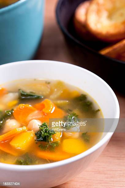 Bowl of hot and fresh vegetable soup