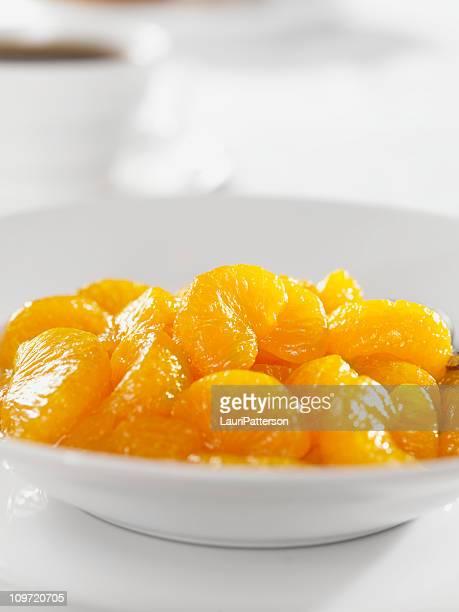 Bowl of Mandarin Oranges with Coffee