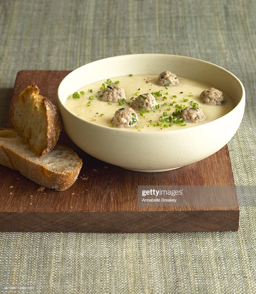 Bowl of meatball soup : Stock Photo