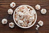 bowl of meringue cookies, top view