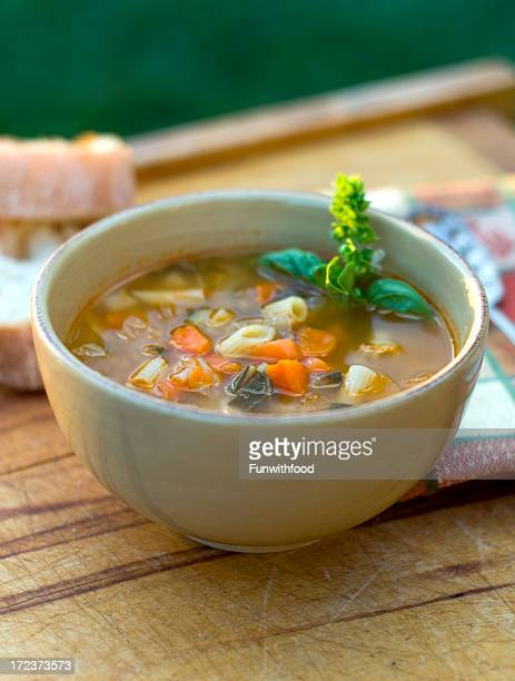 Bowl of Minestrone Italian Soup, Winter Vegetarian Vegetable Noodle Stew