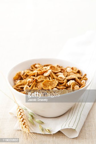 Bowl of mixed cereals. : Stock Photo