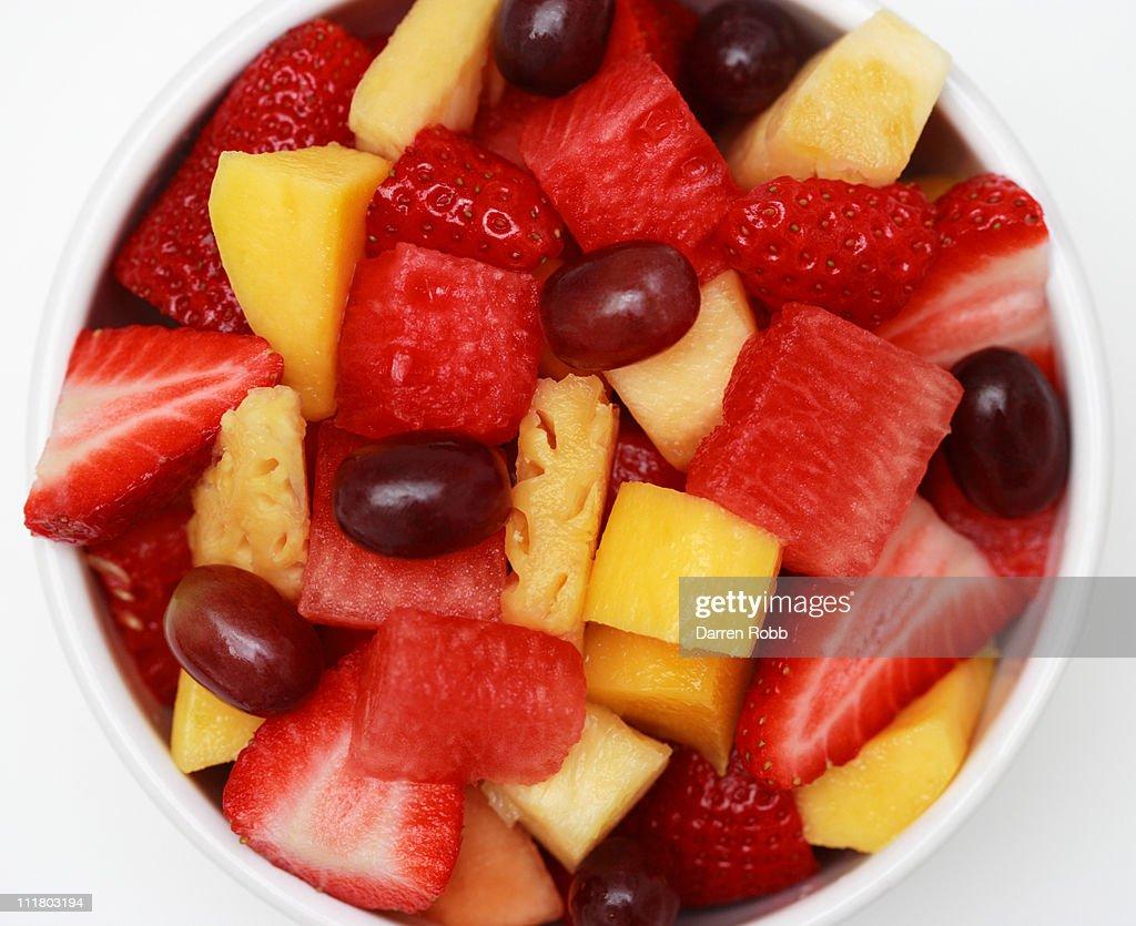 Bowl of mixed fresh fruit : Stock Photo
