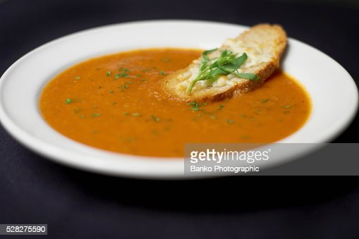 Bowl Of Moroccan Spiced Tomato And Fennel Soup With Crusty Cheese ...