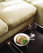 Bowl of noodles with chopsticks