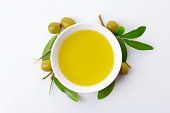 Olive oil in white porcelain bowl