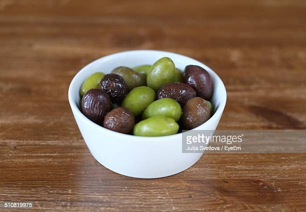 A bowl of olives on a table