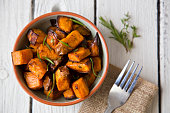 Oven roasted sweet potatoes with thyme and rosemary are an easy to prepare, delicious and healthy snack that contains lots of vitamins and serves as a natural energy booster