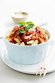 Bowl of pasta and meat sauce