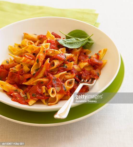 Bowl of penne pasta with tomato basil sauce