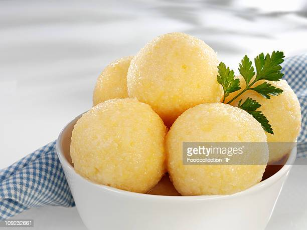 Bowl of potato dumplings, close-up