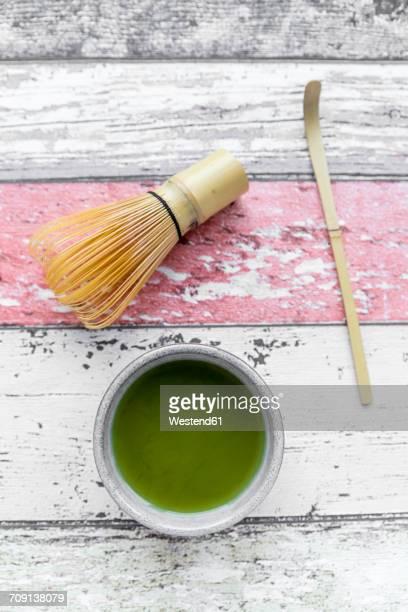 Bowl of prepared Matcha on wood