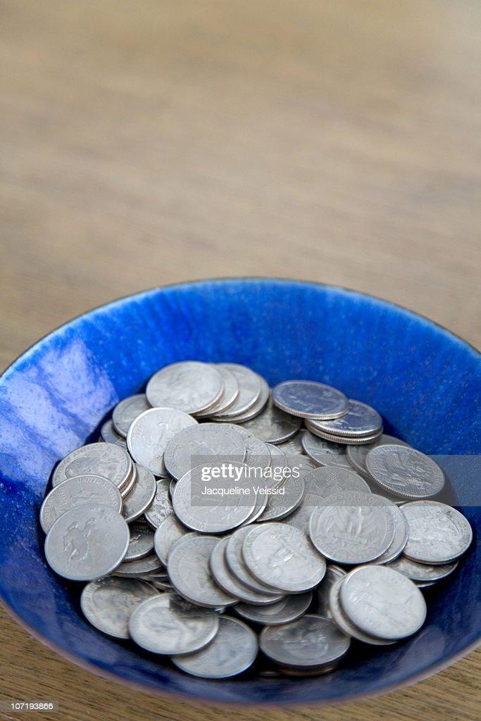 Bowl of quarters