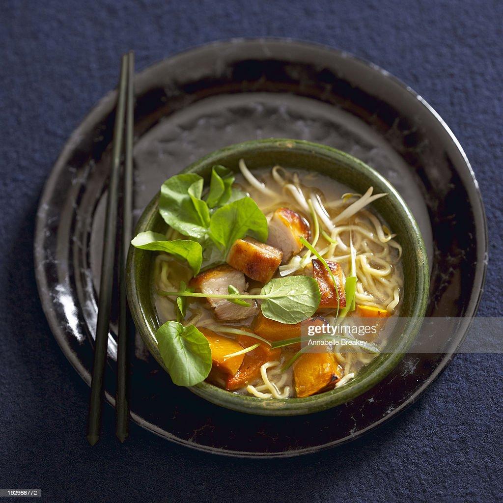 Bowl of Ramen Noodles with Pork : Stock Photo