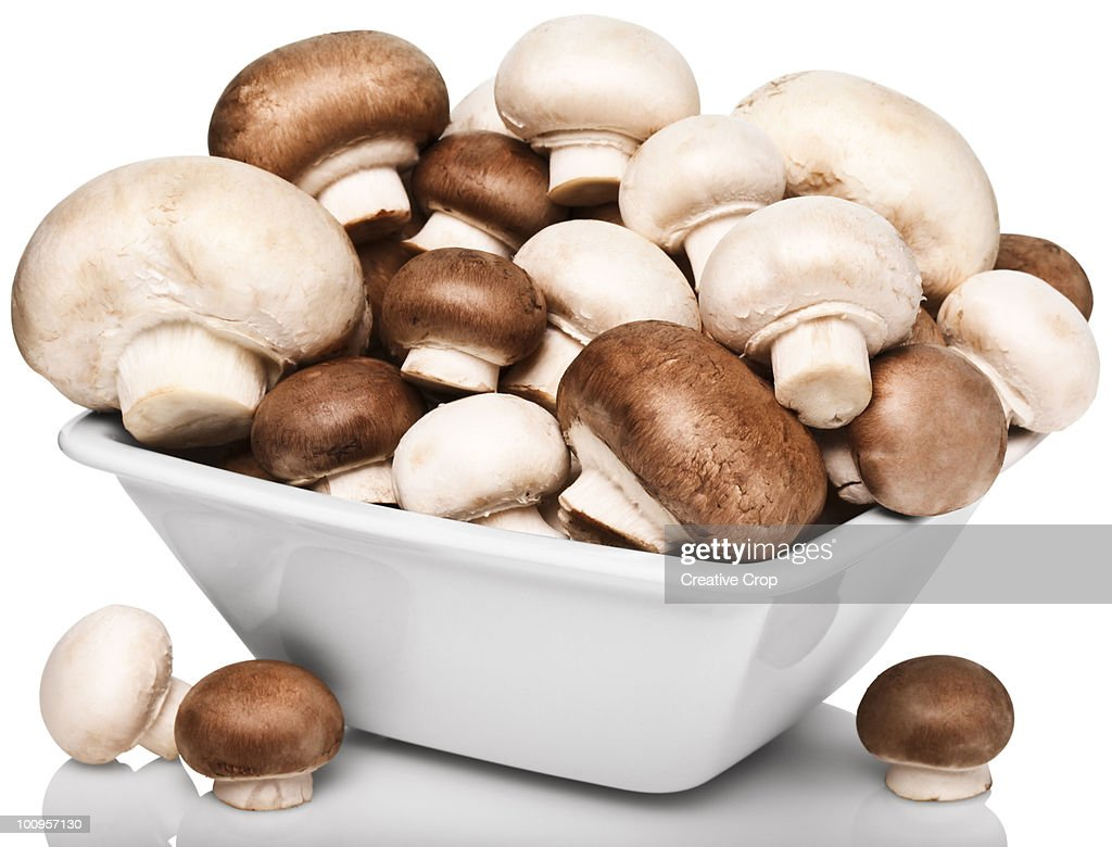 Bowl of raw button and chestnut mushrooms