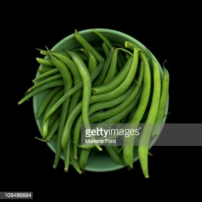 Bowl of raw green beans