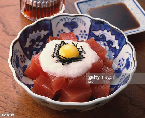 Bowl of raw tuna