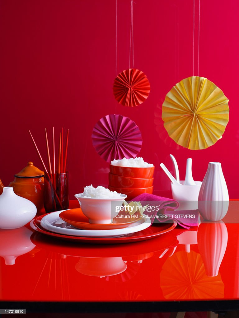 Bowl of rice on decorated table : Stock Photo