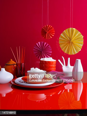 Bowl of rice on decorated table