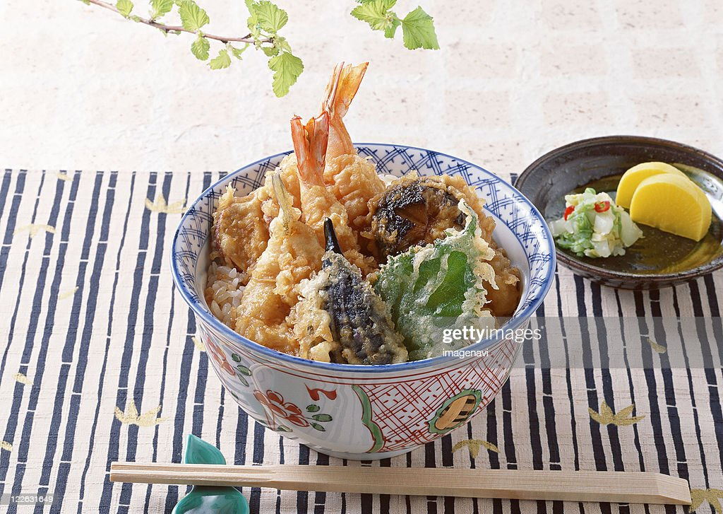 Bowl of Rice with Deep-fried Fish : Stock Photo