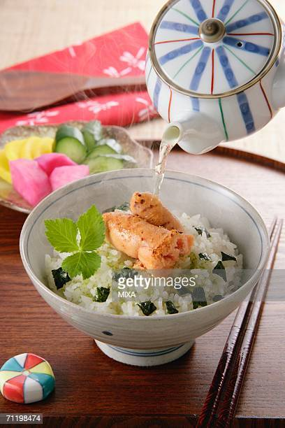 Bowl of rice with green tea